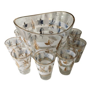 Mid Century Modern Glass Ice Bucket and Glasses - Set of 8
