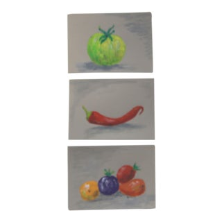 Country Still Life Fresh Vegetables Paintings S/3 by Cleo Plowden For Sale