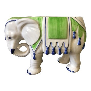 1970s Boho Chic Ceramic Elephant Planter For Sale