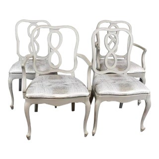 Set of Four French Country Louis XV Style Dining Chairs For Sale