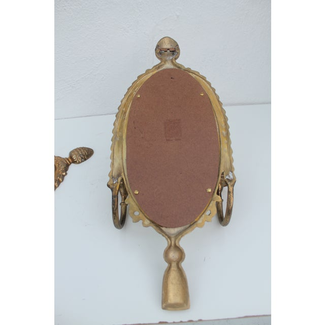 Italian Brass Mirrored Candle Sconces - A Pair - Image 6 of 8