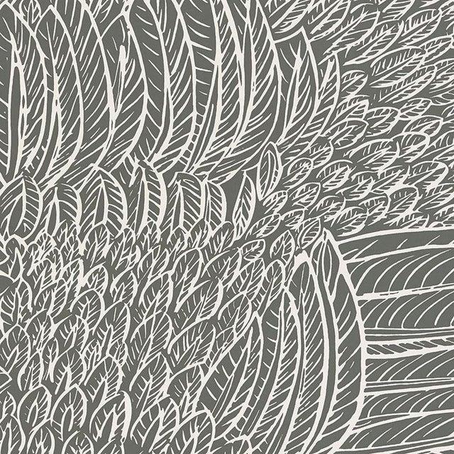 Sample - Schumacher Featherfest Wallpaper in Slate For Sale