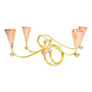 1950s Vintage Mid-Century Modernist Brass + Copper Scrolling Conical Candelabra - a Pair For Sale