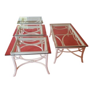 Ficks Reed Glass Coffee & Side Tables - Set of 4