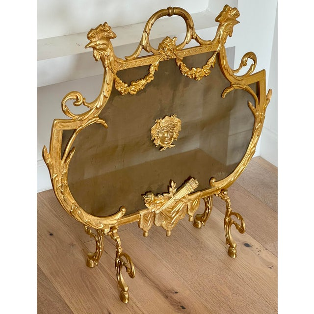 Antique Empire Gilt Bronze Rooster Fireplace Screen W Roosters & Minerva