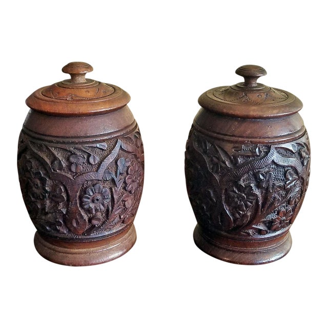 19c Anglo Indian Pair of Carved Wooden Spice Urns For Sale