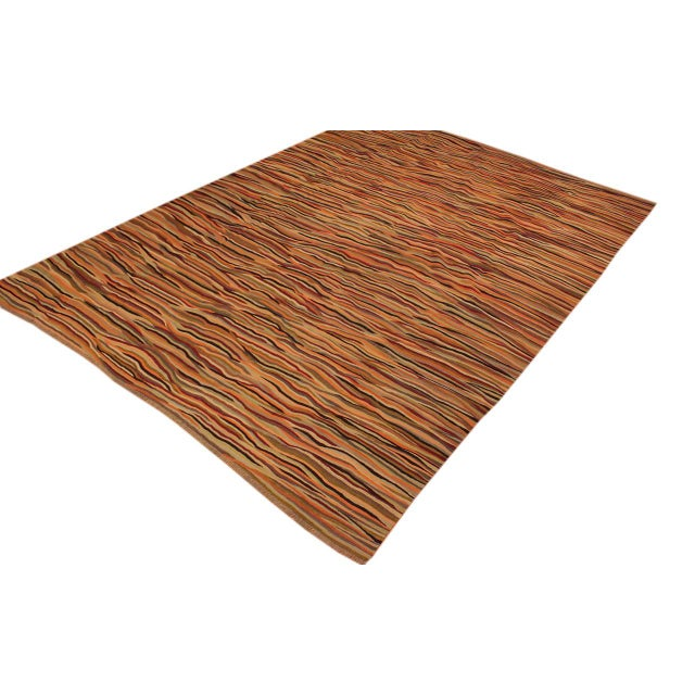 Contemporary Modern Suk Ivory/Gold Hand-Woven Kilim Wool Rug -10'0 X 14'0 For Sale - Image 3 of 8