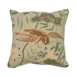 Japanese Schumacher Lotus Garden Pillow in Aqua For Sale
