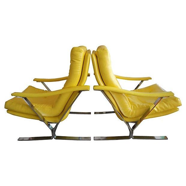 Yellow Naugahyde Armchairs - A Pair - Image 4 of 6