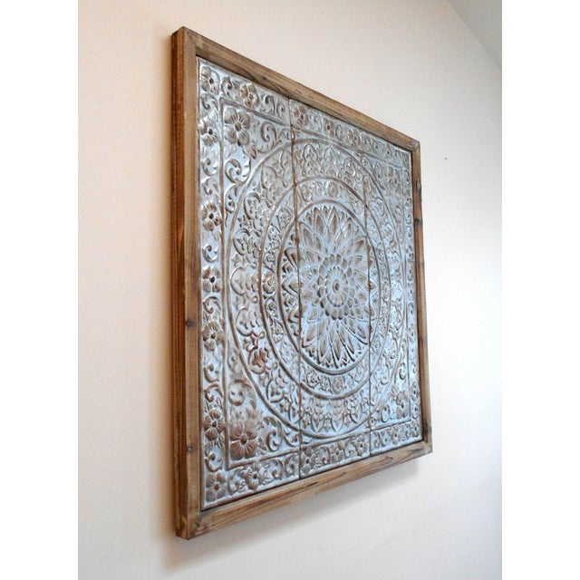 vintage punched tin ceiling tile wall art for sale image 5 of 8
