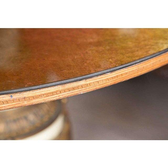 1900 - 1909 Antique Urn Form Base Verne Eglomise Center Glass Top Table For Sale - Image 5 of 13