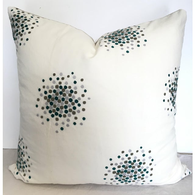 Designer Green & Gray Embroidered Pillow Cover For Sale - Image 4 of 4