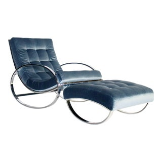 Renato Zevi Chrome and Velvet Ellipse Rocking Chair and Ottoman For Sale