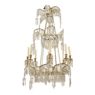 Russian 19th Century Gilt Bronze and Crystal Chandelier For Sale