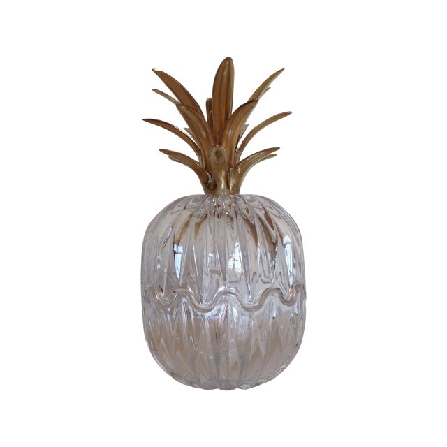 Vintage Glass and Brass Pineapple - Image 1 of 6