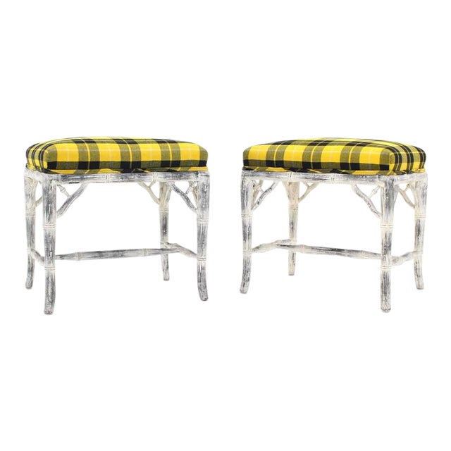 Pair of Faux Bamboo White Wash Finish Yellow Black Plaid Upholstery Benches For Sale