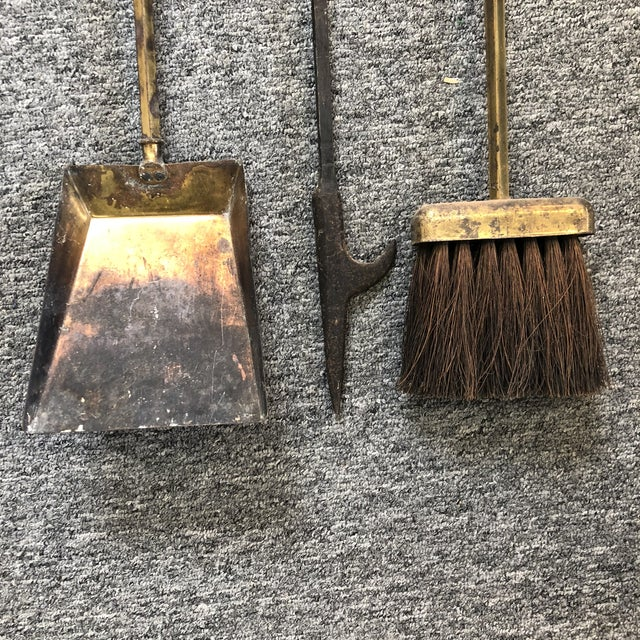 1950s Hanging Brass Modernist Fire Tools For Sale - Image 5 of 6