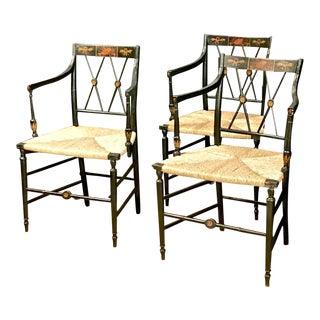 Regency Painted Arm Chairs, Set of Four For Sale