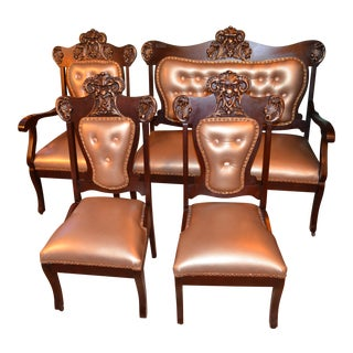 Antique Victorian Carved Mahogany Parlor Set Newly Upholstered - 4 Piece Set For Sale