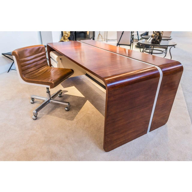 Michel Boyer Walnut and Formica Waterfall Desk For Sale - Image 10 of 11