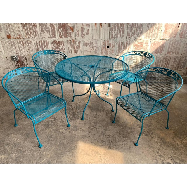 Vintage Wrought Iron Patio Set in the Manner of Russell Woodard For Sale - Image 9 of 9
