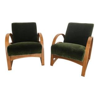 1950s Art Deco Olive Mohair Club Chairs - a Pair