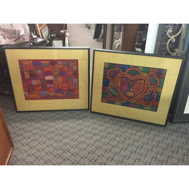 Mid-Century Modern Panama Textile Art Ethnographic Mola a Pair Kuna For Sale - Image 3 of 7
