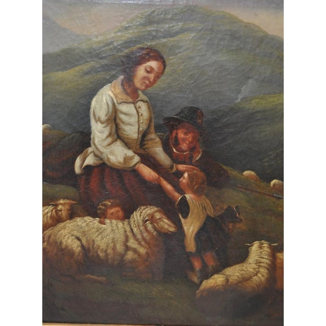 "19th Century European Oil Painting ""Shepherd Family"" - Image 3 of 11"
