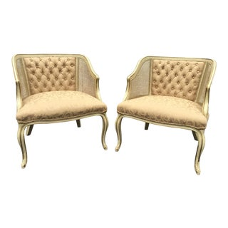 French Provincial Caned Tufted Gold Barrel Chairs - A Pair