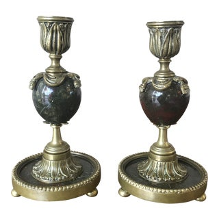 Mid 19th Century Bronze and Black Candlesticks - a Pair