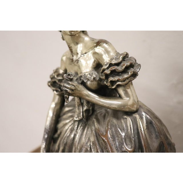 20th Century Italian Sculpture in Silvered Clay Figure of a Lady by B Tornati For Sale - Image 10 of 12