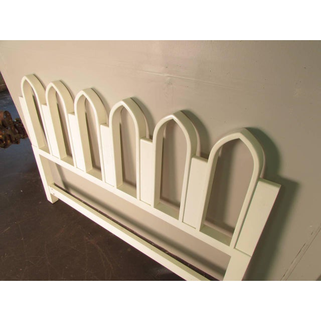 "White lacquered headboard with Gothic arch detail by Harvey Probber, 1965. Headboard is wide enough for a 60"" queen-sized..."