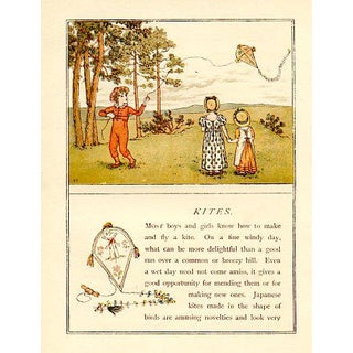Vintage Children's Game Print by Kate Greenaway, Kites For Sale