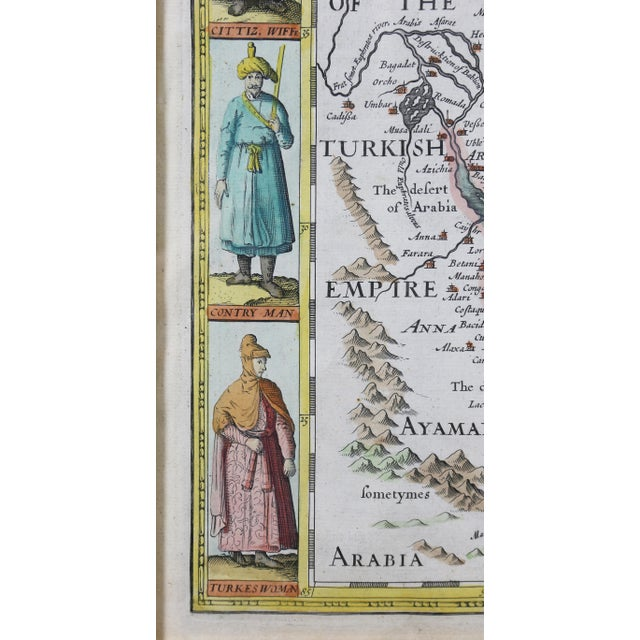 Early 18th Century Framed Hand Colored Map of Persia by John Speed For Sale - Image 5 of 10