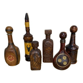 Italian Leather Liquor Bottle Collection - Set of 6 For Sale