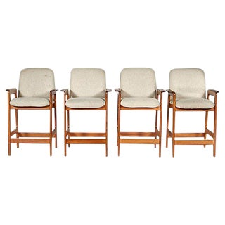 Benny Linden Teak Counter Stools, Set of 4