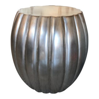 Contemporary Scallop Edged Round Side Table For Sale