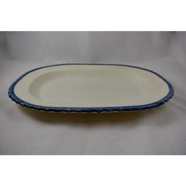 Minimalism 19th C. Leeds Blue Feather or Shell Edge Pearlware Oval Platter For Sale - Image 3 of 9