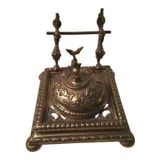 English Brass Inkwell & Pen Holder For Sale