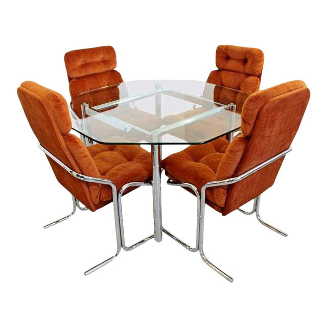 Mid Century Modern Chrome Dinette Set 4 Side Chairs Octagon Glass Top Table 70s For Sale