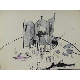 """Kjell Erik Killi Olsen """"Dead Mice in Cesar's Pub"""" Drawing"""