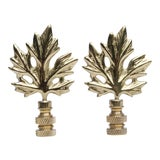 Image of Solid Brass Maple Leaf Finials - A Pair For Sale