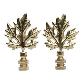 Solid Brass Maple Leaf Finials - A Pair