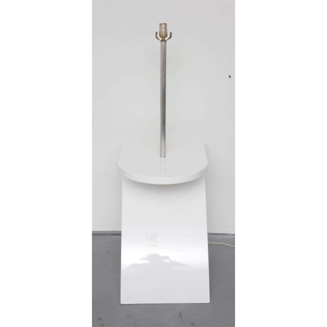 Lacquer White Lacquer Floor Lamp with Tray 1970s For Sale - Image 7 of 10
