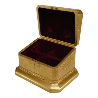 19th C. French Louis XV Style Bronze Dore Box With Coral Cameo For Sale