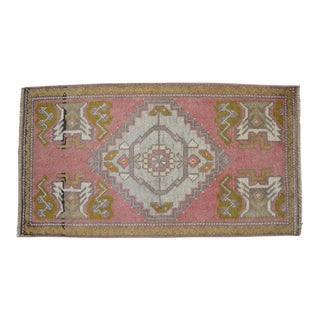 Distressed Low Pile Turkish Yastik Rug Faded Kitchen Sink Mat - 1'8'' X 3' For Sale