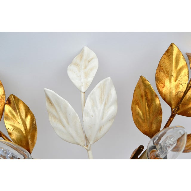 Willy Daro Willy Daro Style Belgium Brass & Enamel Flower Flush Mount in Gold White Finish For Sale - Image 4 of 10