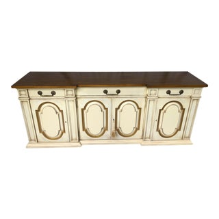 20th Century Karges Credenza Sideboard Antique Ivory Gold Detailing.2 For Sale