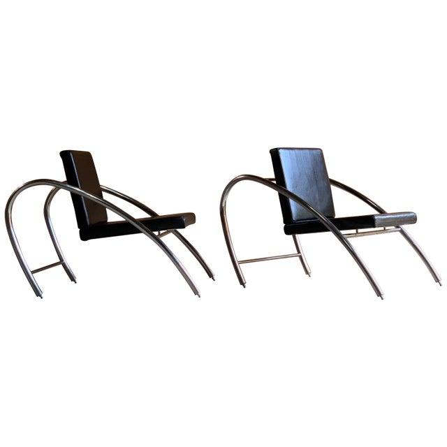 Moreno chrome and leather lounge chairs by Francois Scali & Alain Domingo for Nemo, circa 1983. A pair of Moreno chrome...