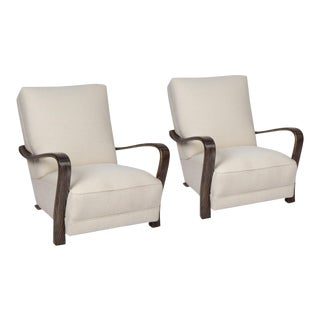 Pair of 1920s French Art Deco Lounge Chairs For Sale